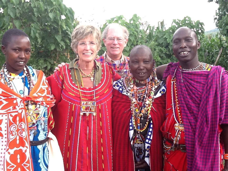 Molly and George Greene in Kenya on a Water Missions International trip in June 2013 with their Massi friends